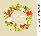 christmas wreath greeting card | Shutterstock .eps vector #307460051