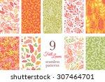 vector fall leaves nine set...   Shutterstock .eps vector #307464701