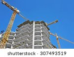 crane and building construction ... | Shutterstock . vector #307493519