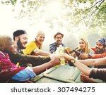 diverse people friends hanging... | Shutterstock . vector #307494275