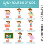 daily routine of happy kids ....   Shutterstock .eps vector #307501934