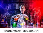 a boy doing experiments in the... | Shutterstock . vector #307506314