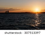 sail boat at sunset on the... | Shutterstock . vector #307513397