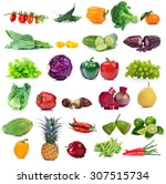 fruit and vegetable isolated on ... | Shutterstock . vector #307515734