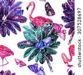 watercolor tropical jungle palm ... | Shutterstock . vector #307528697