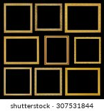 the antique gold frame on black ... | Shutterstock . vector #307531844