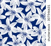 navy and white tropical... | Shutterstock .eps vector #307546631