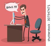 furious frustrated businessman... | Shutterstock .eps vector #307547471