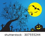 halloween night cartoon... | Shutterstock .eps vector #307555244