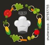 vegetarian menu design  vector... | Shutterstock .eps vector #307557755