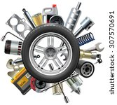 vector car spares concept with... | Shutterstock .eps vector #307570691