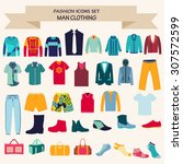 vector set of fashion... | Shutterstock .eps vector #307572599