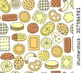 cookies  and biscuits seamless... | Shutterstock .eps vector #307586981
