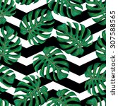seamless tropical pattern with... | Shutterstock .eps vector #307588565