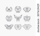 vector set of line empty... | Shutterstock .eps vector #307619429