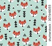 Seamless Geometric Baby Fox...