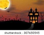 halloween background with... | Shutterstock .eps vector #307650545