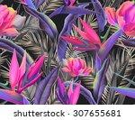 seamless tropical flower  plant ... | Shutterstock . vector #307655681