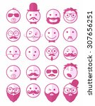 icon set 20 man s faces with... | Shutterstock .eps vector #307656251