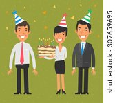business team and birthday | Shutterstock .eps vector #307659695
