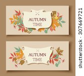 autumn abstract floral... | Shutterstock .eps vector #307669721