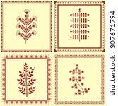 indian tribal painting. warli... | Shutterstock .eps vector #307671794