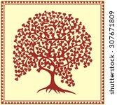 indian tribal painting. warli... | Shutterstock .eps vector #307671809