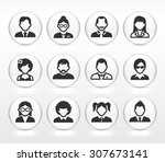 people face set on white round... | Shutterstock .eps vector #307673141