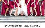 row of bridesmaids  at wedding... | Shutterstock . vector #307682459