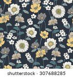 seamless hand drawn floral... | Shutterstock .eps vector #307688285