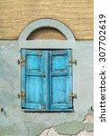 Closed  Old  Light Blue Window...