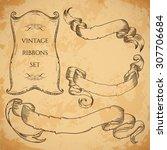 vintage ribbons set. vector... | Shutterstock .eps vector #307706684