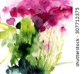 Watercolor Pink Wildflowers....