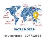 scribble drawing world map... | Shutterstock .eps vector #307712585