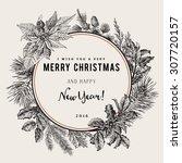 vintage vector card. i wish you ... | Shutterstock .eps vector #307720157