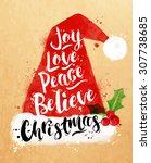 poster christmas santa hat... | Shutterstock .eps vector #307738685