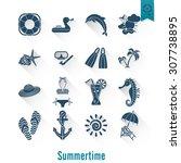 summer and beach simple flat... | Shutterstock . vector #307738895