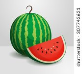 watermelon. a whole and a slice. | Shutterstock .eps vector #307742621