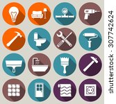 set of house renovation icons.... | Shutterstock .eps vector #307742624