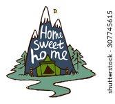 "the inscription ""home sweet... | Shutterstock .eps vector #307745615"