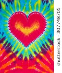 abstract heart design tie dye | Shutterstock . vector #307748705