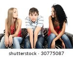 Stock photo two beautiful girls with a shy young man 30775087