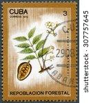 Small photo of CUBA - CIRCA 1975: A stamp printed in Cuba shows Swietenia mahagoni, series Afforestation, circa 1975