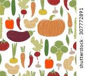 assorted vegetables vector... | Shutterstock .eps vector #307772891