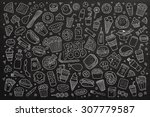 fast food doodles hand drawn... | Shutterstock .eps vector #307779587
