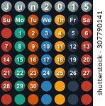calendar june 2015 with flat... | Shutterstock . vector #307790141