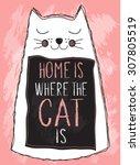 cat poster  t shirt motif ... | Shutterstock .eps vector #307805519
