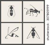Vector Gray Beige Bee Icon Set