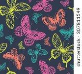 vector butterflies pattern.... | Shutterstock .eps vector #307811549