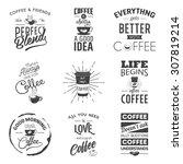set of vintage wine typographic ... | Shutterstock .eps vector #307819214